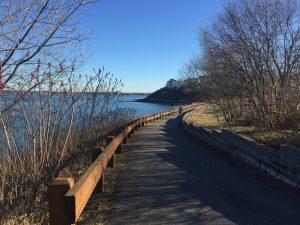 Quincy, MA Park Nut Island wooden boardwalk by the ocean