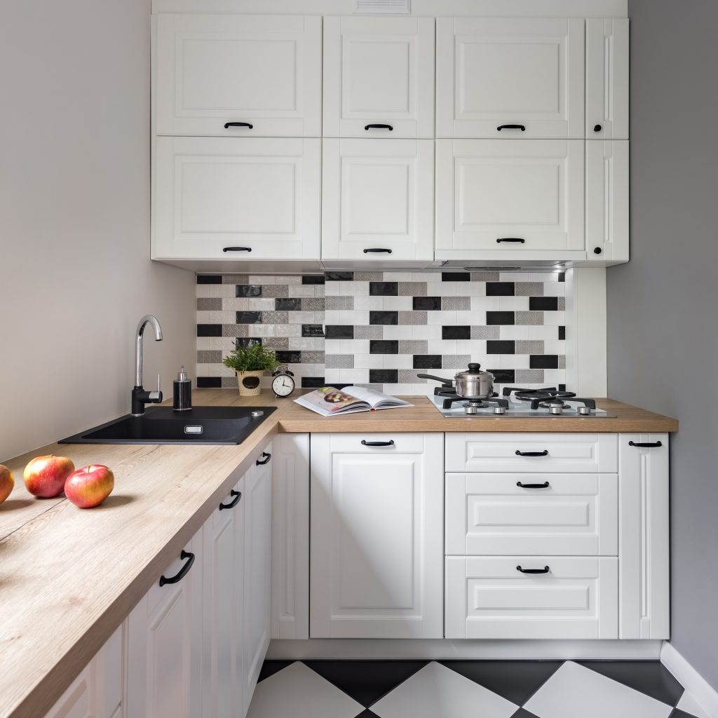 Small kitchen with cabinets